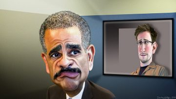 Eric Holder, is the 82nd and current Attorney General of the United States. Eric Holder recently said Edward Snowden performed a 'public service'.   This caricature of Eric Holder is based on a photo in the public domain from The US Department of Labor's Flickr photostream. The caricature of Edward Snowden was adapted from a Creative Commons license photo by Laura Poitras available via Wikimedia.